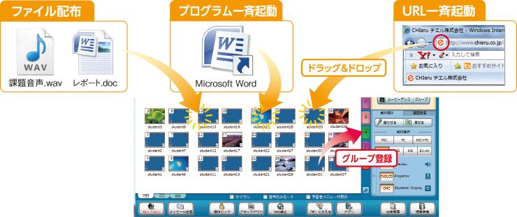ファイル配布 プログラム一斉起動 URL一斉起動 ドラッグ&ドロップ