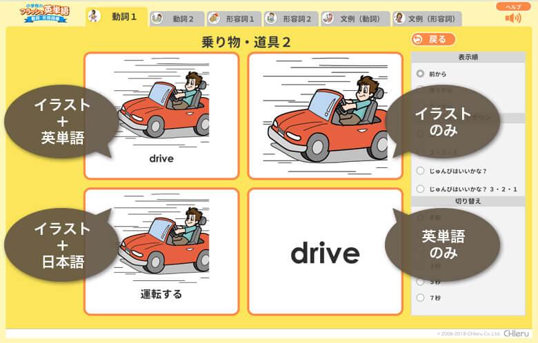 イラスト + 英単語 イラストのみ イラスト + 日本語 英単語のみ