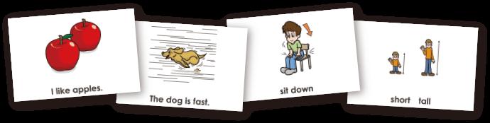 印刷して使えるフラッシュカードなど豊富な資料付き。