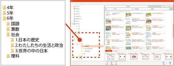 ドラッグアンドドロップで簡単に教材ファイルを整理することができます。